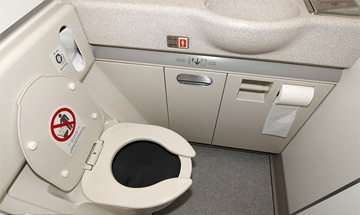 Inside an aeroplane toilet to show how small they are.