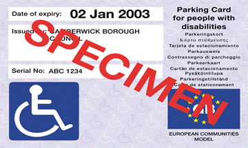 Sample image of the disabled blue badge