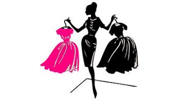 Woman shaded all in black holding up two dresses, one pink, one black