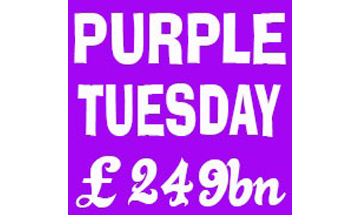 Purple Tuesday £249 bn written in white against a purple square