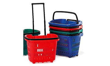 Stacked shopping baskets in blue, red and green colours