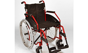 Black wheelchair with a red colour frame