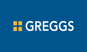Greggs Logo - Blue background 4 yellow dots, 2 top 2 below, the word greggs in white to the right