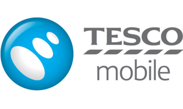 Tesco mobile logo - Blue circle with white orbs inside, the words Tesco mobile beside