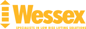 Wessex lifts logo - The word wessex is written in yellow with tag line below - specialist in low rise lifting solutions