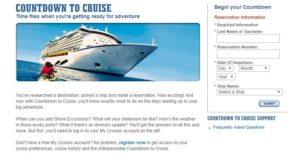 Log in page for cruise countdown