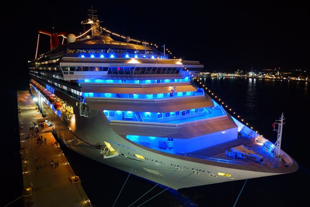 Cruising As A Wheelchair User:  Is It The Best Holiday?  -  Front of cruise ship with blue interior lights
