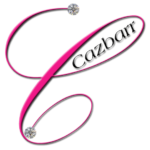 Pink C with a diamond at each end of swirl with cazbarr written inside top curve