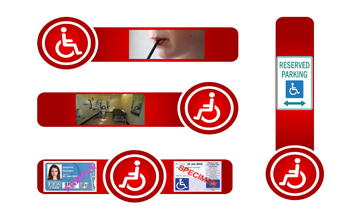 Four red lines with pictures of gir using plastic straw, changing places toilet, blue badge, CEA card and Reserved parking sign