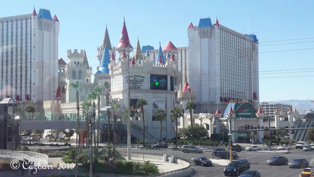 Las Vegas:  My First Time Flying As A Full-Time Wheelchair User -Excalibur hotel from a distance showing several towers of the medieval theme