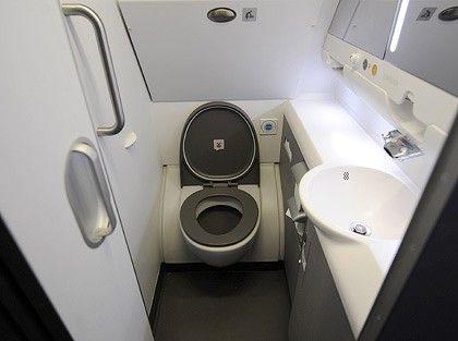 Las Vegas:  My First Time Flying As A Full-Time Wheelchair User - Airplane Toilet