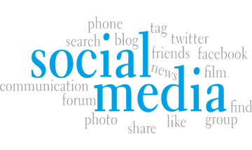 Social media written in big blue letters with lots of social media describing words