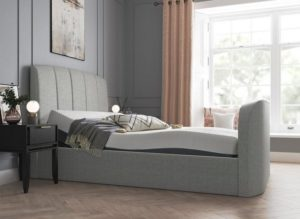 Grey adjustable bed with mattress