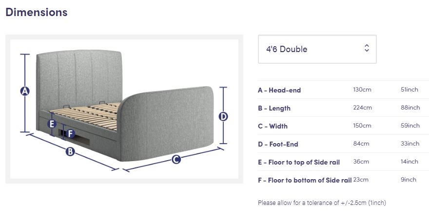 Grey adjustable bed frame with dimensions of the frame