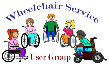 Group of wheelchair users chatting. Wheelchair service user group text above