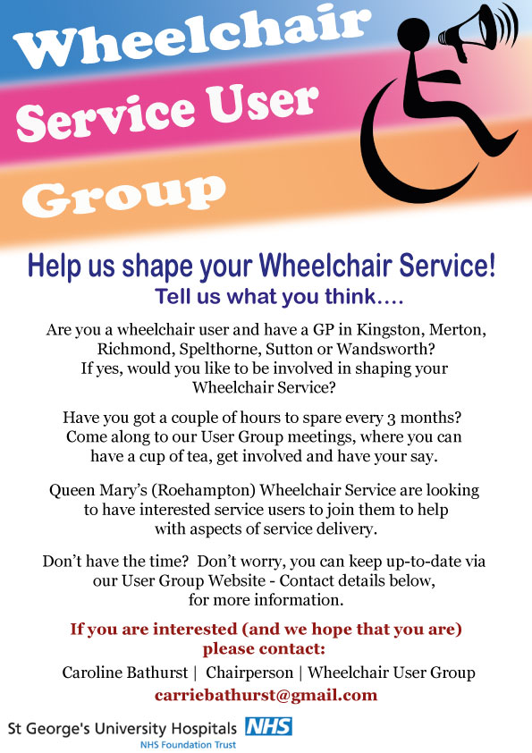 Wheelchair Service User Group poster advertising the group meetings and contact details