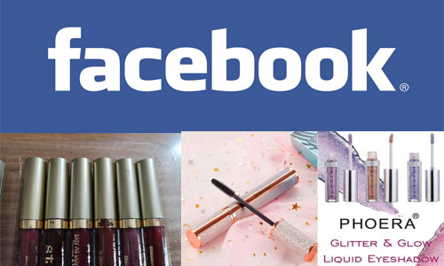 Facebook banner with three product adverts below