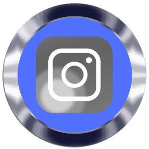 Instagram logo inside silver circle with blue background