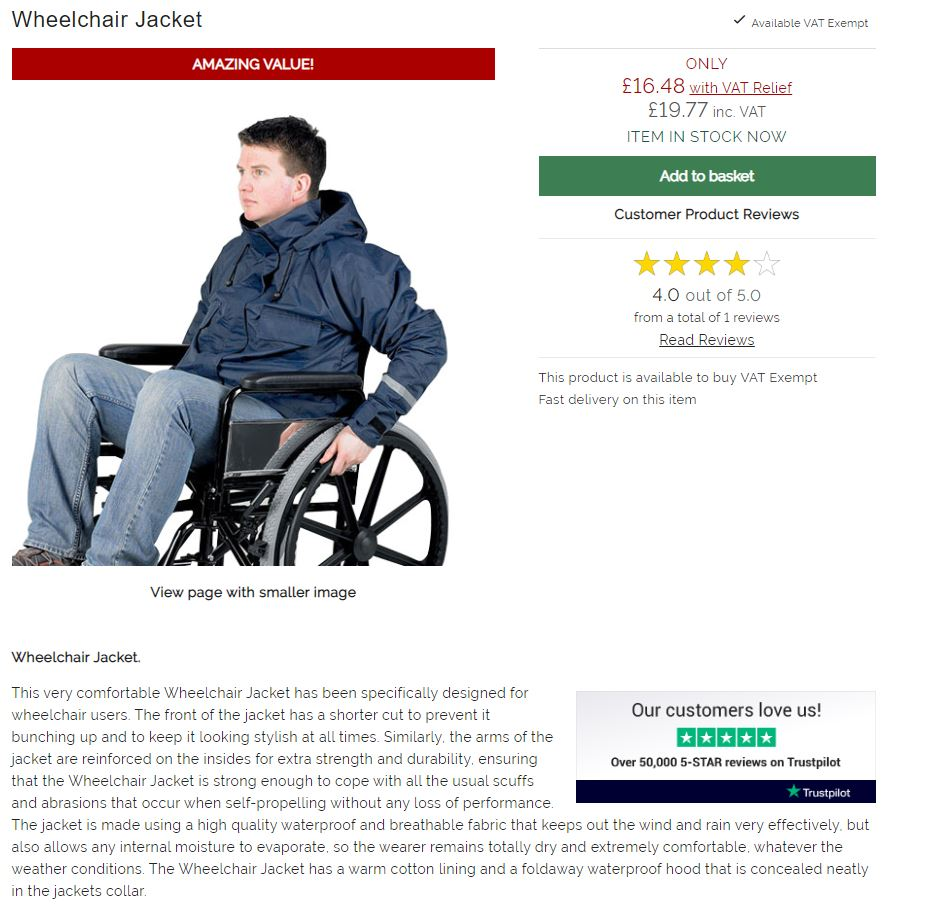 Adaptive navy jacket made for wheelchair users