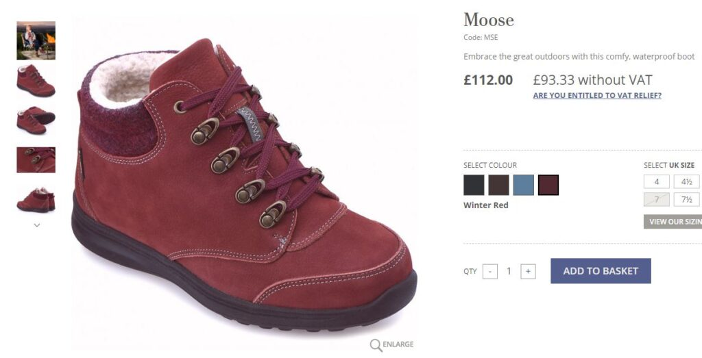 Red suede ankle boot with fleece lining and lace fastening.