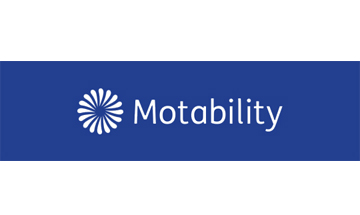 White circle of petals next to the word Motability on a blue background