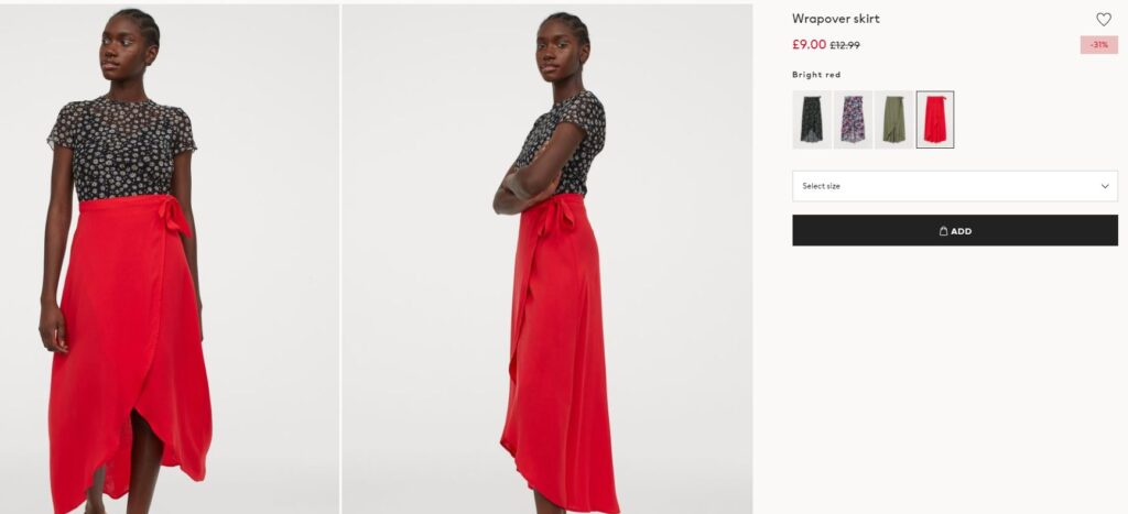 Red wrap skirt with tie fastening