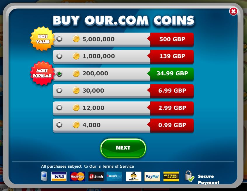 Price list for purchasing coins on Our.com website - Our Bingo:  A Place To Be Bullied