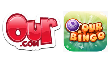 Our.com logo next to Our bingo logo