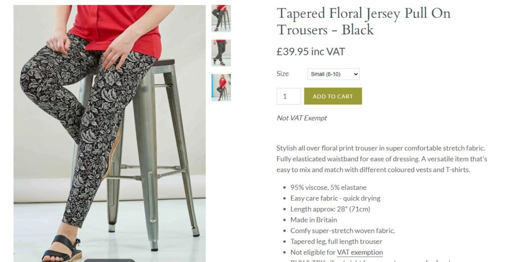 Pair of floral jersey pull on trousers