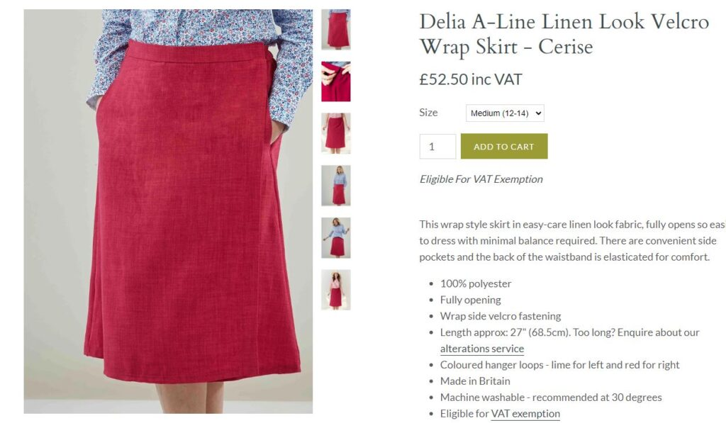 Red linen wrap skirt with velcro fastening.