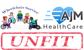 Group of wheelchair users sat chatting next to AJM's logo with unfit stamp beneath