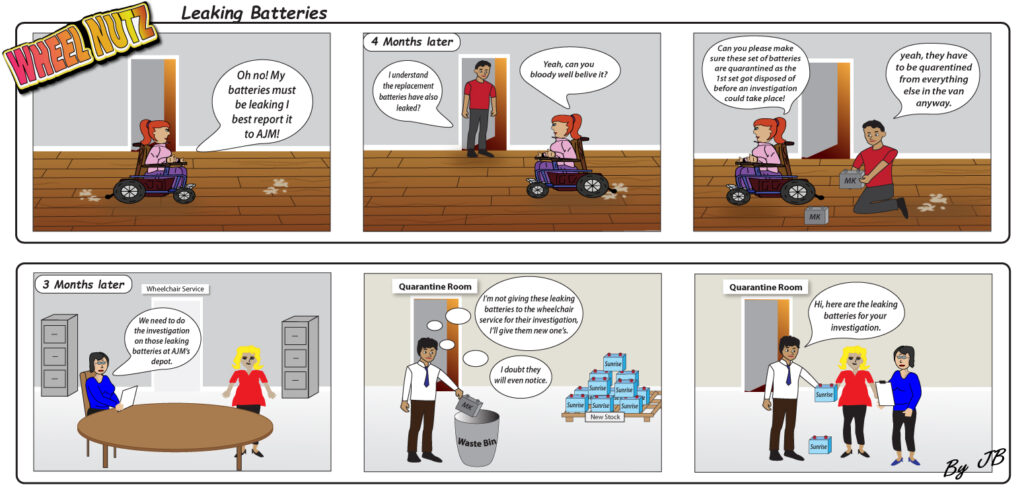 Cartoon strip showing bullet points of claim
