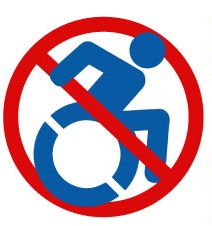 When I'm Asked What's Wrong With You?:  Should I Take Offence?  -  Red no entry sign over a blue shaped wheelchair user