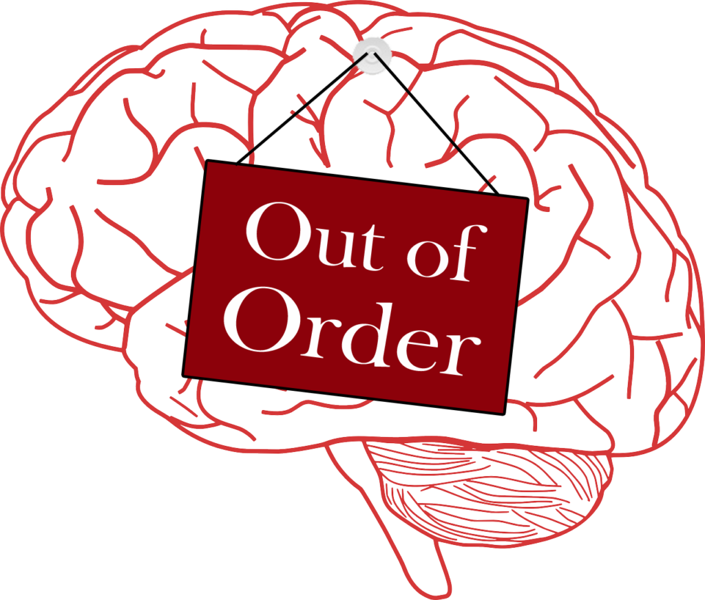 Brain Fog: A Heart Attack Side Effect - Brain with an out of order sign