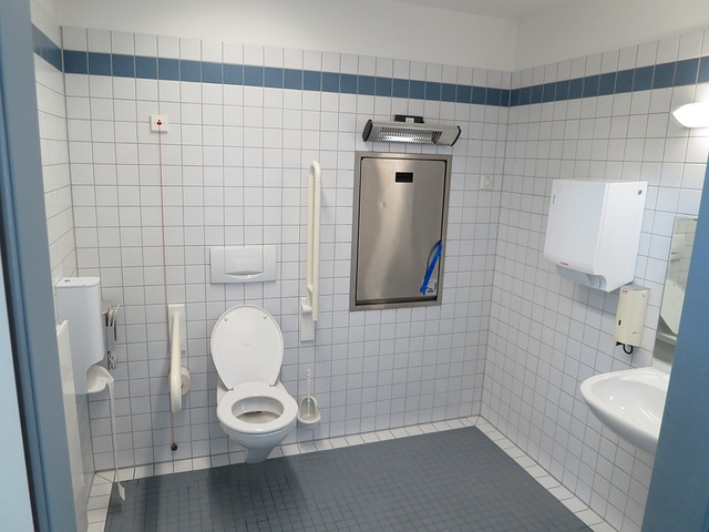 Disabled Facilities:  Do You Abuse Them?  I Bet You Have!  -  Disabled toilet fitted with handrails, changing table.
