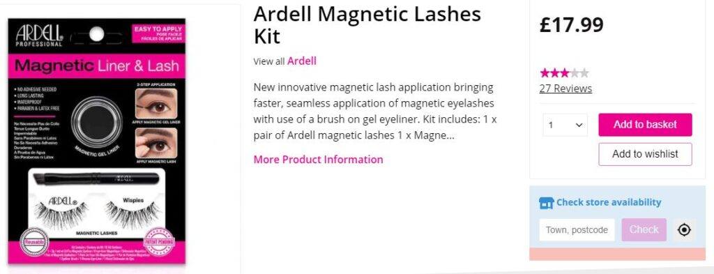 Superdrugs magnetic false eyelashes online listing