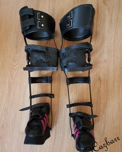 A pair of black Callipers worn by me with Arthrogryposis